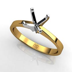 Classical Beauty: Four-Prong 18k Yellow Gold Engagement Ring Setting