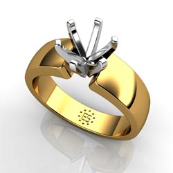 Glorious Resplendence: Six-Prong 18k Yellow Gold Engagement Ring Setting