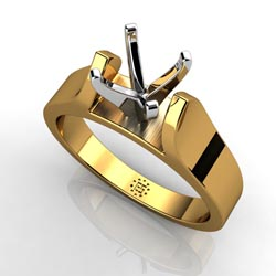 Resplendent Beauty: Four-Prong 14k Yellow Gold Engagement Ring Setting