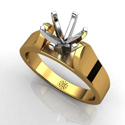 Profusely Luxurious: Six-Prong 14k Yellow Gold Engagement Ring Setting