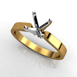 Majestic Beauty: Four-Prong 14k Yellow Gold Engagement Ring Setting