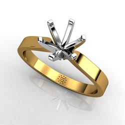 Elegantly Chic: Six-Prong 18k Yellow Gold Engagement Ring Setting