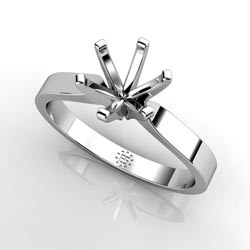 Six-Prong Platinum Engagement Ring Setting with a Contemporary Twist