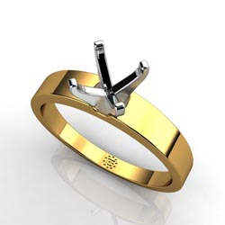 Ageless Perfection: Four-Prong 18k Yellow Gold Engagement Ring Setting
