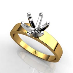 Shining Sensation: Six-Prong 14k Yellow Gold Engagement Ring Setting
