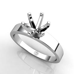 Sleek and Smooth Six-Prong Platinum Engagement Ring Setting