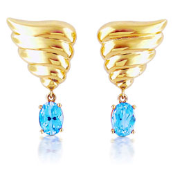 18kt Yellow Gold Angel Wing Shaped Earrings with Sky-Blue Topaz