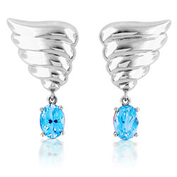 18kt White Gold Angel Wing Shaped Earrings with Sky-Blue Topaz