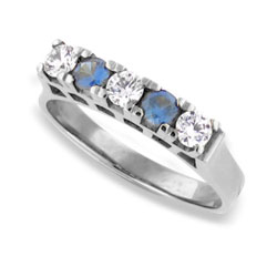 Sapphires and Diamond Eternity 18k White Gold Ring