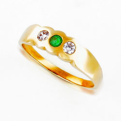 Beautiful 14k Yellow Gold Eternity Ring Vibrant Emerald and Diamond