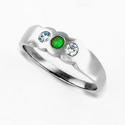 Vibrant Green Emerald and Diamond Eternity Platinum Ring