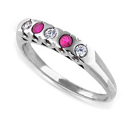 Hot Platinum Ring with Radiant Ruby and Diamond