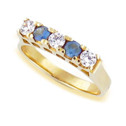 Diamond Ring 14k Yellow Gold with Classic Sapphires