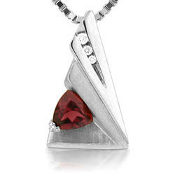 Triangle Ladies Pendant of 14kt White Gold With Charming Rhodolite & 3 Diam