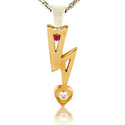 Round Ruby and Diamond 14kt Yellow Gold Stunning Pendant