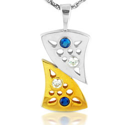 14kt Twin tone Yellow & White Ultra Modern Pendant with Sapphires & Diamond